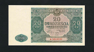 1946 Poland 20 Zlotych XF banknote, BLUE COLOR, RARE