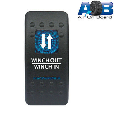 Rocker switch 553BM 12V WINCH OUT WINCH IN LED blue momentary Carling type