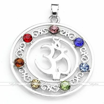 Womens Inlaid 7 Crystal Glass Bead Healing Point Chakra Charms Pendant OM Symbol