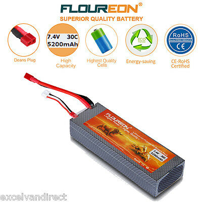 FLOUREON 5200mAh 2S 7.4V 30C Li-Po Battery Deans for RC Helicopter Airplane Car