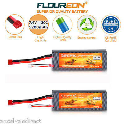2x 2S 7.4V 5200mAh 30C LiPo Battery Deans for RC Evader Car Helicopter Airplane