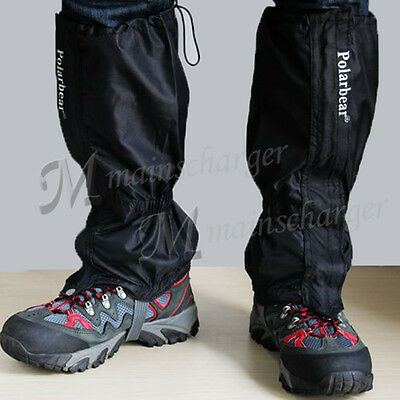 Waterproof Gators Walking Gaiter Boot Hiking Climbing Legging Trekking Black UK