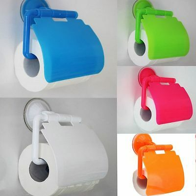 Bathroom Sucker Wall Mounted Toilet Paper Holder Cover Roll Tissue Box Accessory