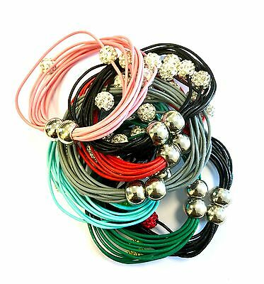 Ladies Leather Bracelet Girls Bangle Diamante Crystal Magnetic Wrist Band