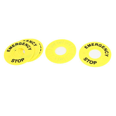 5 Pcs 22mm Cutout Yellow Plastic Round Panel Label Frame for Push Switch Button