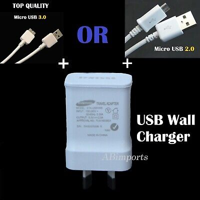 USB 2A AC Wall Charger & Data Cable for Samsung Galaxy S4 S3 S5 Note 3 J1 A2 A3