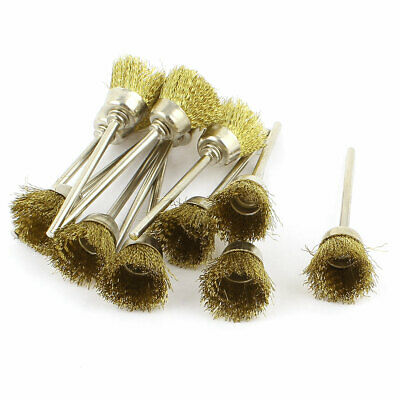 12 Pcs 2.3mm Shank Brass Wire Cup Polishing Brushes for Rotary Tool
