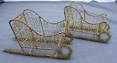 Gold Tone Wire Metal Christmas Decoration Holiday Display Sleigh Sled - Set of 2