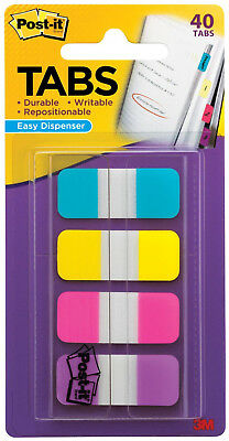 """3M Post It Tabs .625"""" x 1.5"""" Writable Repositionable 4 Bright Colors 40pk"""