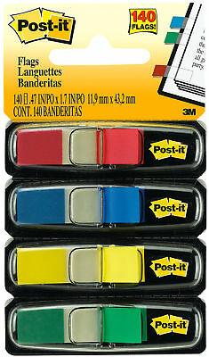 "3M Post It Flags 4 Primary Colors .47"" x 1.7"" 11.9mm x 43.2mm 140pk"