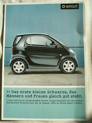 Smart Fortwo Coupe Blackmotion brochure 2004 German text