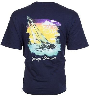 TOMMY BAHAMA Mens T-Shirt SAILS TEAM Sailboat Boating NAVY BLUE Relax Camp $45