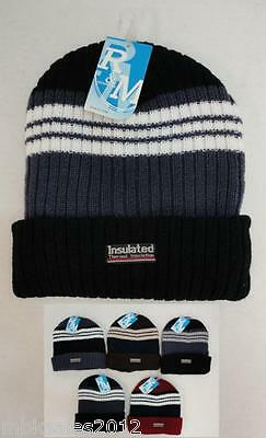 96 Lot Thermal Insulated HEAVY DUTY Striped Winter Knit Beanie Hat Asstd Colors