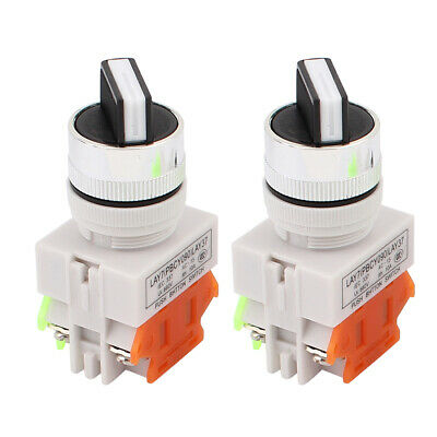 2Pcs AC 660V 10A Latching NO NC DPST 2 Position Rotary Selector Switch