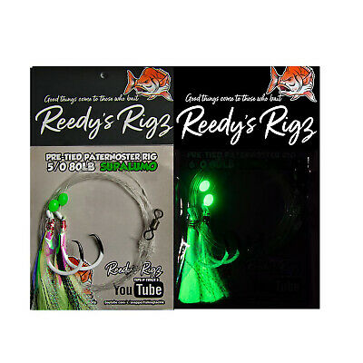 10 Fishing Rigs Tied Snapper Pre Made Flasher Rigs Blue Fish Hooks Bottom Snell