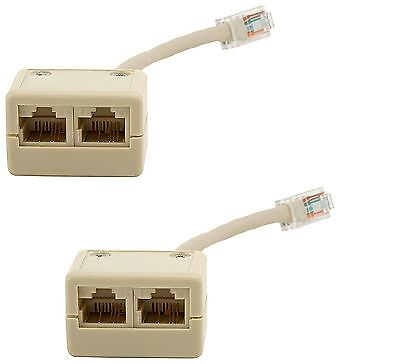 2x Cat5e T Adapter 1 M to 2 F RJ45 Connector Ethernet RJ 45 Cat 5e