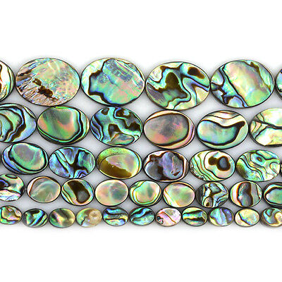 """Natural abalone shell flat oval beads strand 16"""" 8mm to 20mm"""