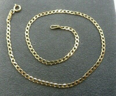 "NEW 9ct Solid Yellow Gold Curb Anklet 10""  CH192  1.2 grams"