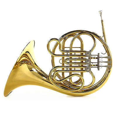 New Student Single French Horn with Case, Gold by Gear4music