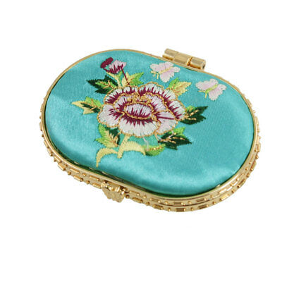 Woman Cyan Embroidered Flower Decor Oval Shaped Cosmetic Mirror