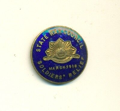1918 Australia State War Council Soldiers' Relief Enameled Pin