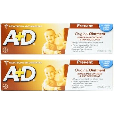A + D Original Ointment, Diaper Rash & Skin Protectant - 4 oz tube (Pack of 2)