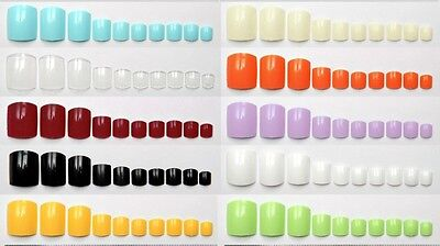 TOE NAILS False Fake Glue On 20 100 500 Natural Clear Coloured Toenails Tips Set