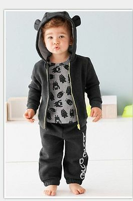 2PC baby boys Sport hooded outerwear +pants kid boys Clothing sets 100% cotton