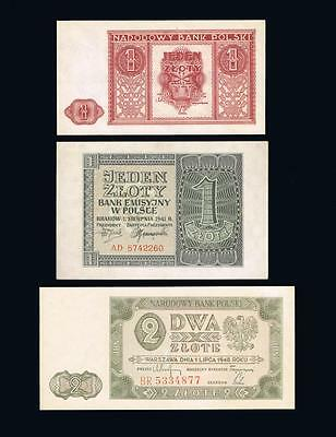 1941, 1946, 1948 Poland Set of 3 UNC banknotes: 2x 1 Zloty and 1x 2 Zlote