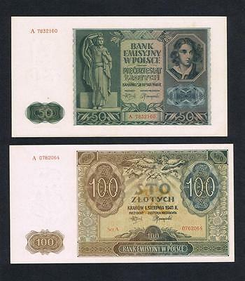 1941 Poland Set of 2 UNC banknotes: 50 and 100 Zlotych Uncirculated