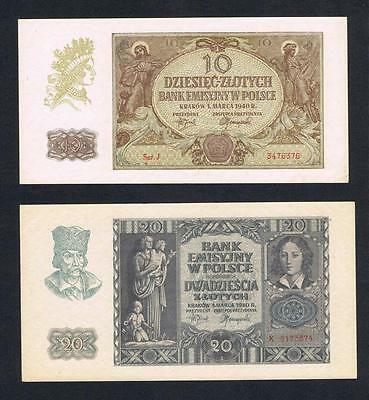 1940 Poland Set of 2 UNC banknotes: 10 and 20 Zlotych Uncirculated