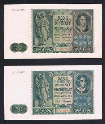 1941 Poland Set of 2 UNC 50 Zlotych banknotes Uncirculated