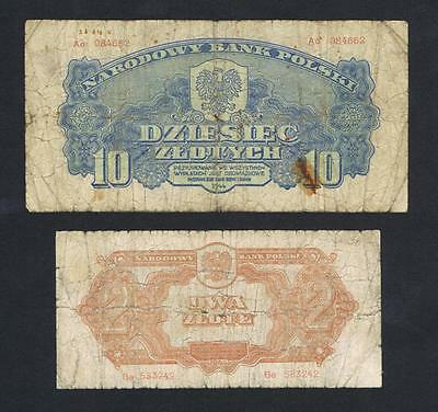 1944 Poland set of 2 circulated banknotes: 2 and 10 Zlotych Zlote
