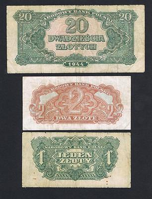 1944 Poland set of 3 circulated banknotes: 1 Zloty, 2 Zlote, and 20 Zlotych