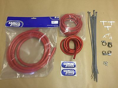 Red Samco Sport Silicone Vacuum Hose Kit Dump Valve Boost Line Turbo Air Water