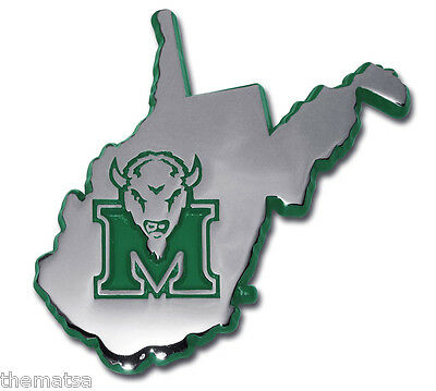 Marshall Buffalo West Virginia State  Shape Usa Made Car Chrome Emblem Medallion