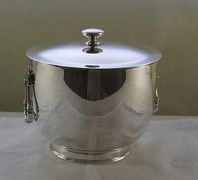 Silver Ice Bucket with Genuine Thermos Double Wall Glass Lining