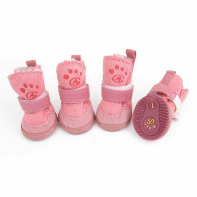 4 Pcs Footprint Pattern Nonslip Sole Shoes Size 1 Pink for Pet Dog
