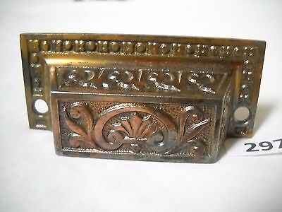 Antique Cast Iron Bin Drawer Pull Brass Plated