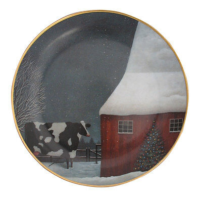 Barnyard Christmas American Folk Art Lowell Herrero Franklin Mint Cow Plate