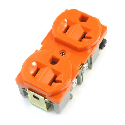 Flush Mounting Industrial Duplex Receptacle Adapter Orange 125V 20A