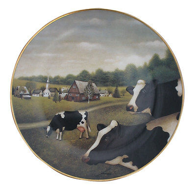 Grazing in the Grass American Folk Art Lowell Herrero Franklin Mint Cow Plate