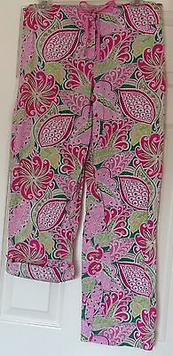 Women's Vera Bradley pant, pink, roll up buttoned legs, Size S, 100% cotton, EUC