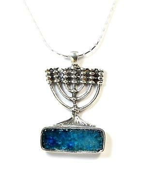 Ancient Roman Glass Menorah Sterling Silver pendant Jerusalem Israel Holy Land