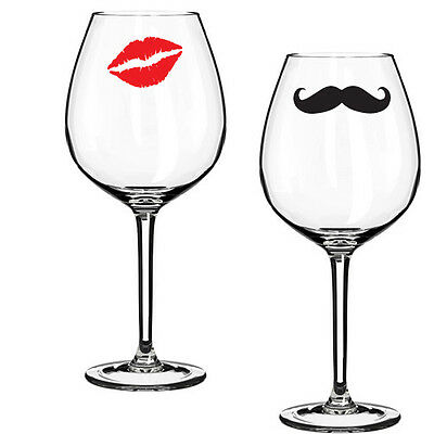 MOUSTACHE AND KISS LIPS WINE BEER DRINKS GLASS LOGO STICKER DECAL VINYL ML001