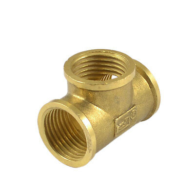 Pneumatic 19mm Female Threaded 3 Way Quick Coupler Connector Fitting Bronze Tone