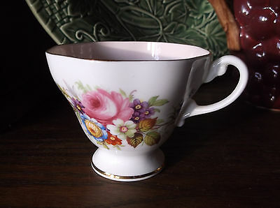E B Foley China Teacup 4071 ? Pink Int Mixed Floral Pink Rose Blue Straw Flower