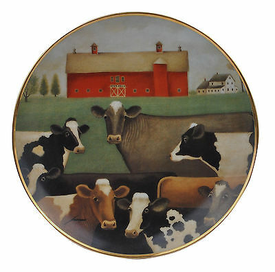 The Gathering American Folk Art Lowell Herrero Franklin Mint Country Cow Plate