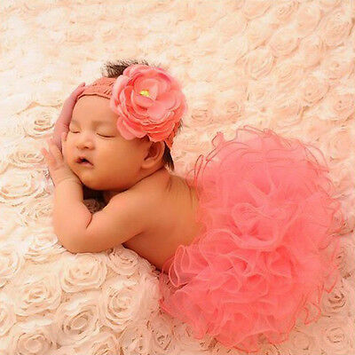 Newborn Tutu Clothes Skirt Baby Girls Knitted Crochet Photo Prop Outfits Pink