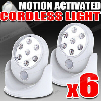 6X Pathway Stair Light Angel PIR Motion Activated Sensor Stick Up 7 LED Cordless